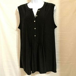 Black Sleeveless Slinky Top Blouse Size L N14E